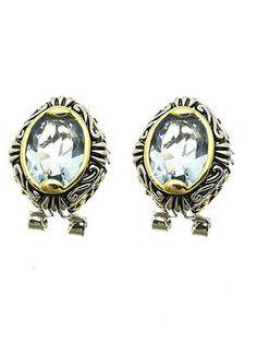 Aqua Jewel Textured Earrings from Helen's Jewels