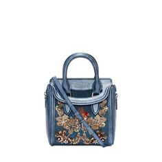 ALEXANDER MCQUEEN Bags Washed Denim Embroidered Mini Heroine