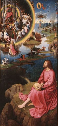 Hans Memling Triptych of the Mystical Marriage of St. Catherine of Alexandria, right wing, scene of St. John the Evangelist in Patmos