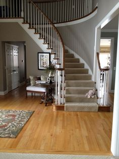 Curved Staircase In Two Story Foyer With White Wainscoting
