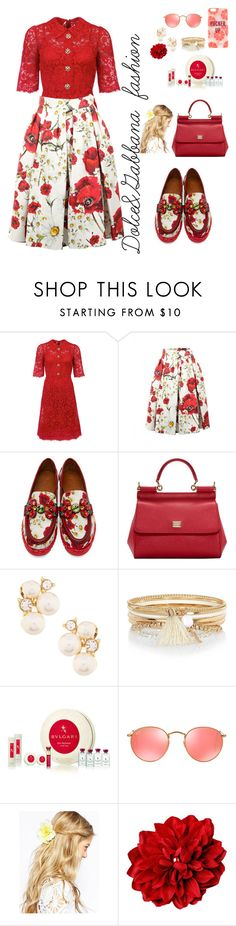 """Untitled #132"" by elifie ❤ liked on Polyvore featuring Dolce&Gabbana, Anne Klein, River Island, Bulgari, Ray-Ban, ASOS and Kate Spade"