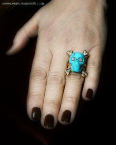 Turquoise skull ring - handmade - gold 18 kt diamonds - Dogale Jewellery Venezia Italia