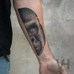 Symmetrical gorilla half-portrait