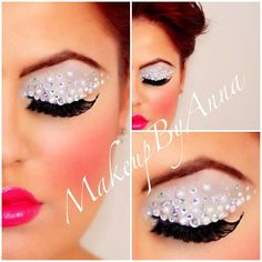 White glitter eye shadow adorned with clear rhinestones