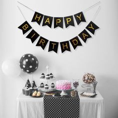 LIMITLESS Happy Birthday Banner with Foil Gold Letters-Birthday Decorations for birthday party supplies (Black) Happy Birthday 40, Birthday Wall, Happy Birthday Bunting, Birthday Letters, Birthday Parties, Birthday Celebrations, 40th Birthday, Simple Birthday Decorations, Black Party Decorations