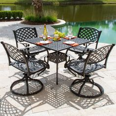 Lakeview Outdoor Designs Heritage Cast Aluminum Patio Dining Set With  Swivel Rocking Chairs (Bronze), Brown, Size Sets, Patio Furniture