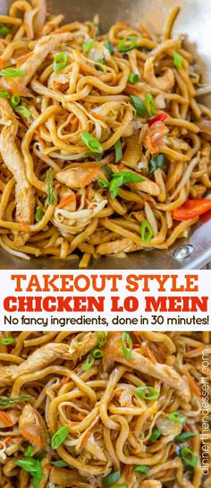 Takeout Style Chicken Lo Mein ~ with chewy Chinese egg noodl. - Takeout Style Chicken Lo Mein ~ with chewy Chinese egg noodles, bean sprouts, chicken, bell peppers and carrots in under 30 minutes like your favorite Chinese takeout restaurant! Easy Chinese Recipes, Asian Recipes, New Recipes, Vegetarian Recipes, Dinner Recipes, Cooking Recipes, Healthy Recipes, Chinese Meals, Chinese Desserts