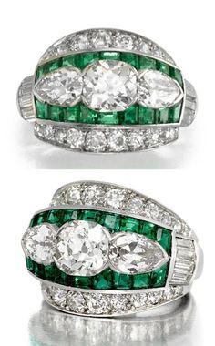 ART DECO DIAMOND, EMERALD RING, MARCUS