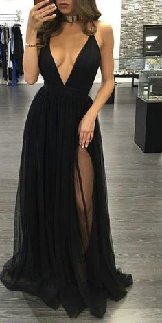 Sexy Black Prom Dress,Spaghetti Straps Party Dress,Deep V-neckline Formal Dresses,Black Slit Graduation Dresses,Black V-neck Evening Dress