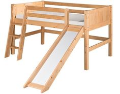 The best bedroom furniture for kids! Camaflexi Panel Low Loft Bed With Slide: www.DEQOR.com.