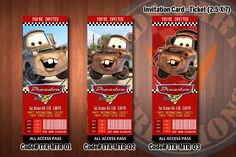 TOW MATER Ticket Invitation  Tow Mater by kidspartykreations, $7.99