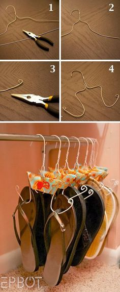 DIY Flip Flop Storage. Shouldn't have gotten rid of all my wire hangers...