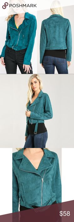 """Faux Suede Moto Zippered Jacket (TEAL) ❤️ BUNDLES ❤️ DISCOUNTS ❌ NO TRADES ❌ NO Low balling!  • Fully lined • Front Zipper • Ultra-Soft fabric.  * MEASUREMENTS: • SMALL: - Length: 18.5"""" Approx - Bust: 35.5"""" Approx • • MEDIUM: - - Length: 19.5"""" Approx - Bust: 37.75"""" Approx • • LARGE: - Length: 20.25"""" Approx - Bust: 39.75"""" Approx • * MATERIAL: • SELF: - 92% Polyester, 8% Spandex • Lining: - 100% Polyester Jackets & Coats"""