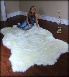 FUR ACCENTS Faux Fur White Polar Bear Area Rug / Off White Hide Shape All Sizes in Home & Garden,Rugs & Carpets,Leather, Fur & Sheepskin Rugs | eBay