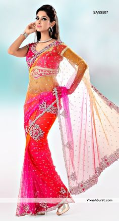 Red and Fuschia Net Saree With Blouse