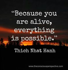 Thich Nhat Hanh Quote: Because You Are Alive, Everything Is Possible - Inspiration in Pictures Wisdom Quotes, Quotes To Live By, Me Quotes, Motivational Quotes, Inspirational Quotes, Alive Quotes, Sport Quotes, Strong Quotes, Change Quotes