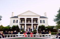 A view of the #outdoorceremony at #TaylorBridgeFarm. ::Jessica + Adam's classically beautiful wedding at the Taylor Bridge Farm in Calhoun, Georgia:: #whitechairs #weddingguests #farmwedding #georgiawedding #weddingphotographer