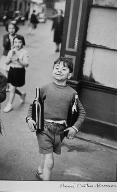 Rue Mouffetard, Paris, 1954 (Boy with Bottles) - I am loving street photography more and more and more these days.