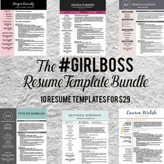 Resume Template Bundle - #girlboss by Resume Template Shoppe on @creativework247