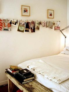 clothespin photo hanging - i usually am more to framed pictures, but this would definitely encourage me to hang some.