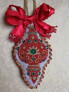 needlepoint ornament by Burnett & Bradley (formerly ACOD), club from The Needle House in Texas