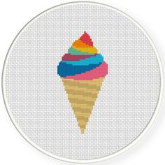 FREE for March 16th 2016 Only - Rainbow Ice Cream Cross Stitch Pattern
