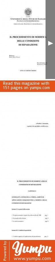Il procedimento di modifica delle condizioni di separazione - Magazine with 151 pages: Prima della riforma, avutasi nel 1988 i provvedimenti riguardanti i coniugi e, la loro prole, emessi dal Tribunale con la sentenza che pronunciava la separazione, erano modificabili, ma con le forme del procedimento ordinario. Mentre per i provvedimenti contenuti nella sentenza di divorzio, la l. 898/1970, aveva già previsto la forma del ?procedimento in camera di consiglio, qualora sopraggiungessero…