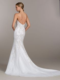 Ivory modified A-line bridal gown, sweetheart neckline with cascading beaded embroidery, sparkle tulle underlay and chapel train Bridal Gowns from Lovelle By Lazaro - Bridal Style LL4505 by JLM Couture, Inc.
