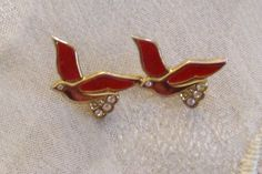 Pin Enamel & Rhinestones Red Birds - Vintage - Priority Shipping Included by…