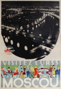 Moscow USSR Intourist, 1958 - original vintage poster listed on AntikBar.co.uk