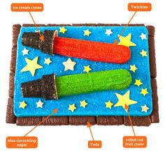 cute light saber cake:  http://www.parenting.com/article/how-to-make-a-star-wars-inspired--birthday-cake
