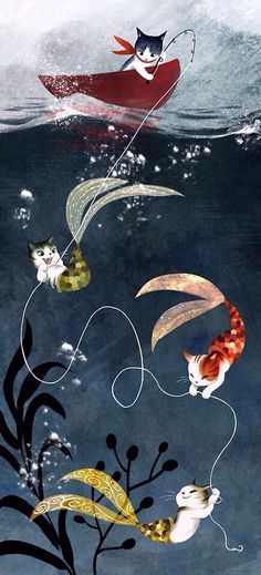 Sailor cat who's in for an unexpected surprise by some undersea guests, Purrmaids.  ArtbyVW