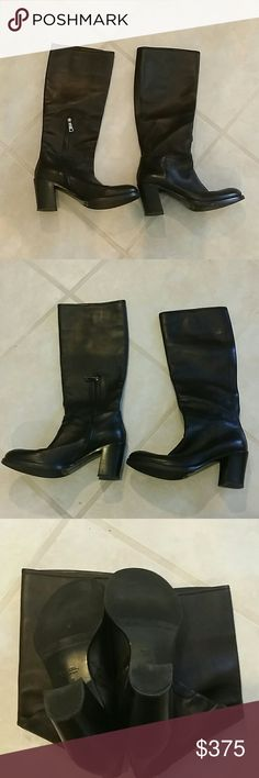 Women's Prada Black Calf High Leather Boot Sz. 39 Women's Authentic Prada Black Calf High Leather Boot Sz. 39, Mint Used Condition - 95+% on the heels. MSRP $1200; US Women's Size 9.  Chrome zipper at the ankle and gold Prada letter inside boot.    Trades include cash for Prada Men's leather billfold only.  These boots are in Near Mint condition with 1 very minimal scuff on the toe of left boot.  Best Offers will be considered. Prada Shoes Heeled Boots