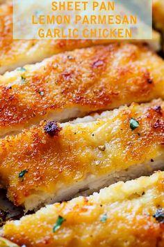 Blatt Pfanne Zitrone Parmesan Knoblauch Huhn - Easy Food Rezepte # F . I Love Food, Good Food, Yummy Food, Tasty, Food Dishes, Main Dishes, Cooking Recipes, Healthy Recipes, Healthy Nutrition