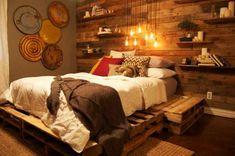 60 DIY Möbel aus Europaletten – erstaunliche Bastelideen für Sie - Möbel wandteller deko Europaletten bett gestell