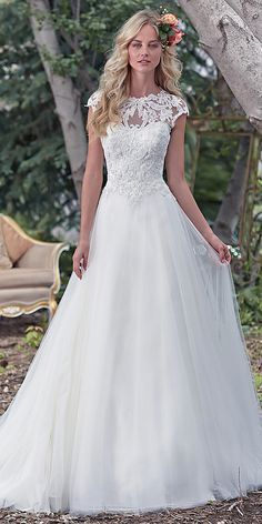 maggie sottero cap sleeves aline wedding dress - Deer Pearl Flowers / http://www.deerpearlflowers.com/wedding-dress-inspiration/maggie-sottero-cap-sleeves-aline-wedding-dress/