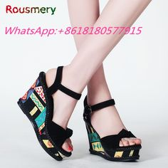 72.14$  Watch here - http://aliyc8.shopchina.info/go.php?t=32795618763 - Ethnic Style Wedges Platform High Heels Woman Sandals Summer Plus Size Party Colorful Woman Shoes Attractive Escarpins Femme   #buymethat