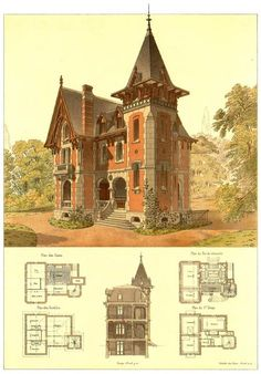 Architectural drawings of neo gothic house. Architectural drawings of neo gothic house. The post Architectural drawings of neo gothic house. appeared first on Architecture Diy. Victorian House Plans, Vintage House Plans, Gothic House, Victorian Homes, Victorian Gothic, Victorian Castle, Gothic Mansion, Victorian Village, Vintage Houses