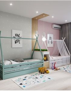 Perfect Bedroom For Kids - toddler room ideas Kids Bedroom Designs, Baby Room Design, Baby Room Decor, Modern Kids Bedroom, Boy Decor, Bedroom Ideas, Boy And Girl Shared Room, Boy Girl Bedroom, Childrens Bedrooms Shared