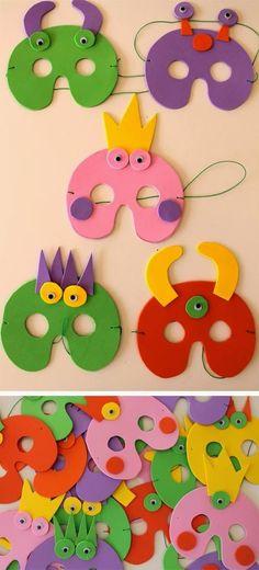 Ya estamos en Febrero y es tiempo de carnavales.Esta vez os enseño algunas ideas para hacer máscaras y antifaces para y con los más peques....