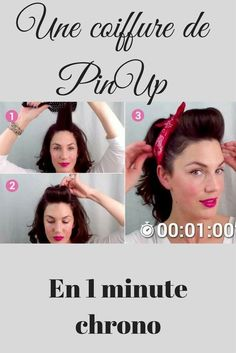 Une superbe coiffure de Pin Up en 1 minute chrono This season, retro fashion is in the spotlight: the look of the Pin Ups of the is back for the most … Pin Up Bandana, Pin Up Looks, Bandana Hairstyles, Retro Hairstyles, Pin Up Hairstyles, Hairstyles Videos, Wedding Hairstyles, Look Retro, Look Vintage