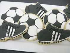 Soccer sugar cookie favors.