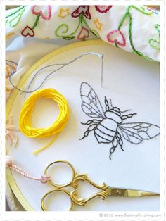 Bumble Bee hand embroidery pattern with filling suggestions!
