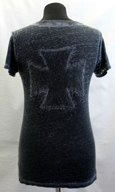 T Party Women's Charcoal Black Burn Out Iron Cross Short Sleeve Tee Shirt NEW #TParty #EmbellishedTee