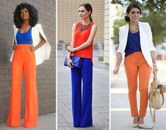 Veste ivoire + caraco bleu/violet + pantalon orange + ballerine