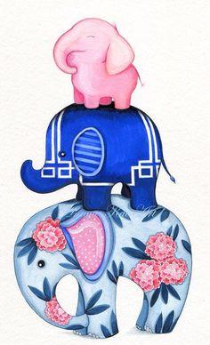 Pink Elephant Is The Top Elephant! Elephant Art - Fabric Elephant Stack - Caitlin Wilson Textiles - Painting by Annya Kai Elephant Love, Elephant Art, Small Elephant, Vintage Elephant, Indian Elephant, Elephant Nursery, Elephant Illustration, Illustration Art, Elefante Tattoo