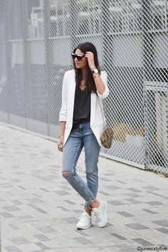 e2ff5ebe2 Sneakers Deals White Sneakers Outfit, White Blazer Outfits, Best Sneakers,  Sneaker Outfits Women