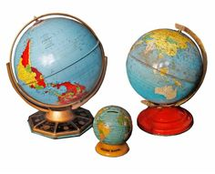 For my future study, so I can show off all the fabulous places I have visited Vintage Tin Globes