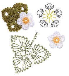 Fantastico Strawberry Blossom Crochet Flower Motifs / 스트로베리꽃 코바늘 … – Wiezu - Uncinetto - Motivi Per Uncinetto Irish Crochet Patterns, Crochet Motifs, Crochet Diagram, Crochet Chart, Diy Crochet, Freeform Crochet, Crochet Puff Flower, Crochet Flower Tutorial, Crochet Leaves