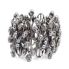 "Fashion Cuff Bracelet; 2.5"" High; Antique Silver Metal; Grey Pearl Beads And Rhinestones; Stretches To Fit Eileen's Collection. $28.99. Save 52%!"